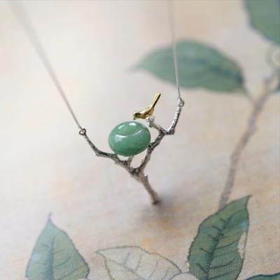 東方美學文藝東陵玉鳥兒樹枝925純銀項鍊-設計所在