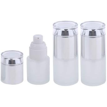 3個 メイクアップボトル ポンプボトル 詰替え容器 ガラス 旅行 便利 3色2タイプ選べ - シルバー2