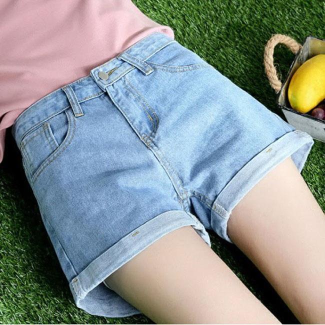 FOFU-牛仔短褲高腰原宿風學生寬鬆百搭卷邊牛仔短褲【08G-G1483】