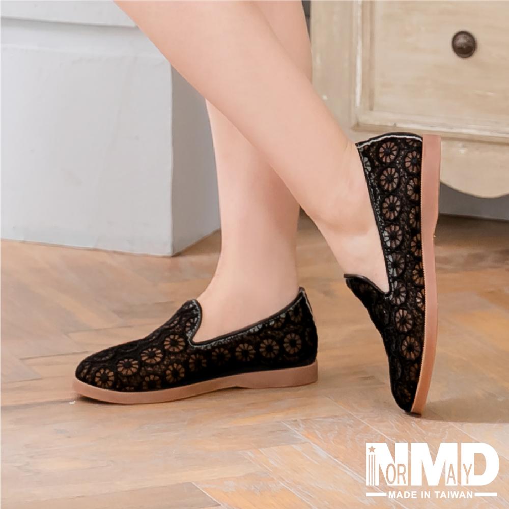 【Normady 諾曼地】基本款優雅蕾絲懶人平底鞋-MIT手工鞋(黑蕾絲)