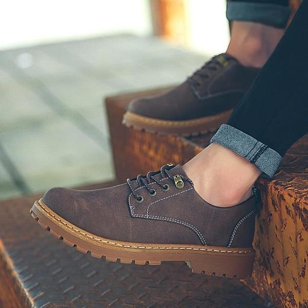 男靴2021新款春季男鞋低筒英倫馬丁靴男韓版潮流百搭工裝短靴休閒潮鞋