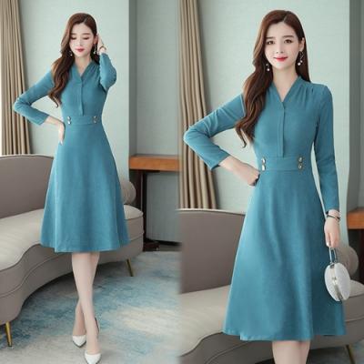 【韓國K.W.】(預購)都會女神風彩純色素面修身洋裝-2色