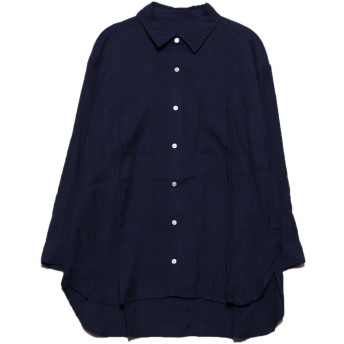ジーラ GeeRA リネン風CPOシャツ (ネイビー)