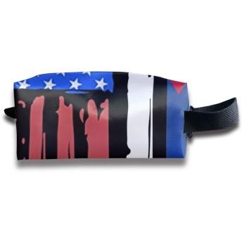 ジッパーが付いているアメリカの半分のキューバの旗のキャンバスの構造袋の袋の財布のハンドバッグのオルガナイザー