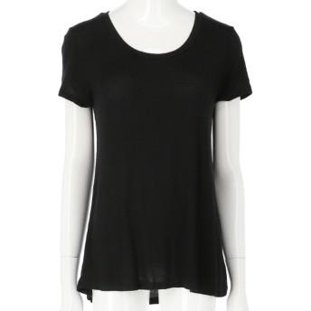 Anap USA ディープUネックセミフレアレーヨンTシャツ(ブラック)