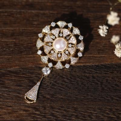 東方美學古典文藝華美花瓣水滴淡水珍珠胸針吊墜兩用-設計所在