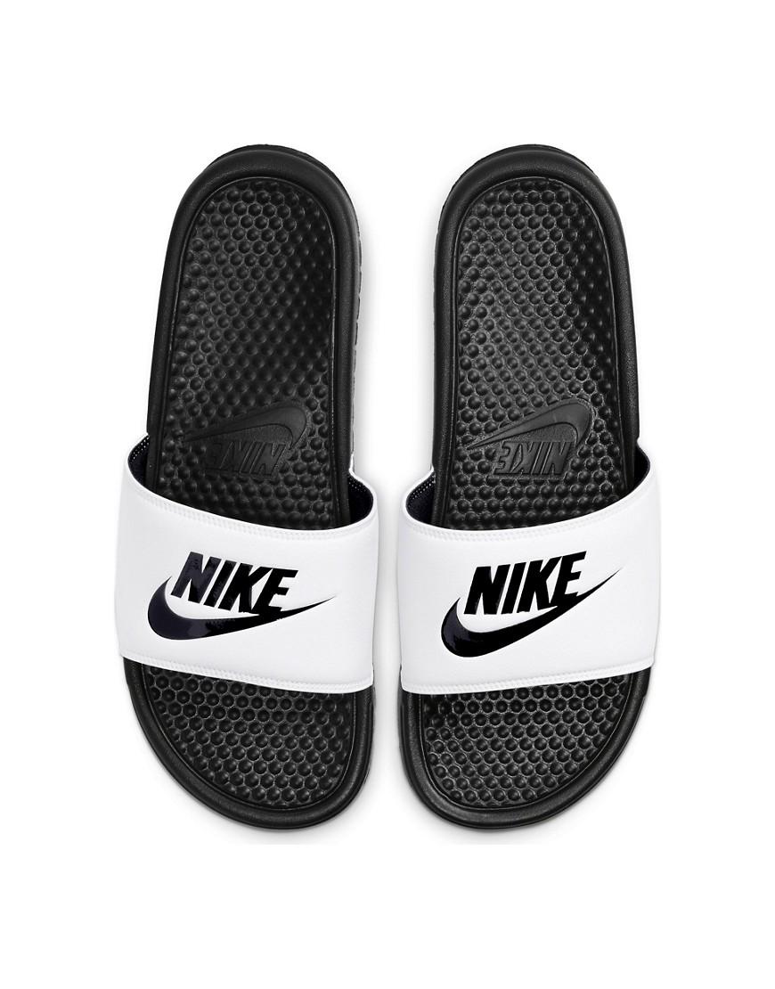 Nike Benassi JDI slides in white/black