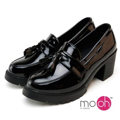 mo.oh流蘇漆皮制服粗跟樂福鞋-黑色