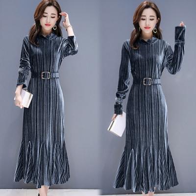 【韓國K.W.】(預購)高質金絲蔥獨家氣質長洋裝-3色