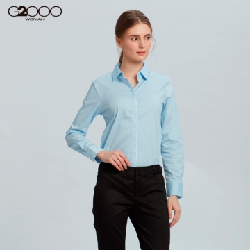 G2000素面長袖上班襯衫-藍色