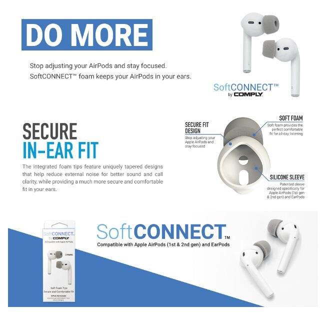 【宏華資訊廣場】Comply-Soft CONNECT AirPods EarPods 海綿耳塞 公司貨
