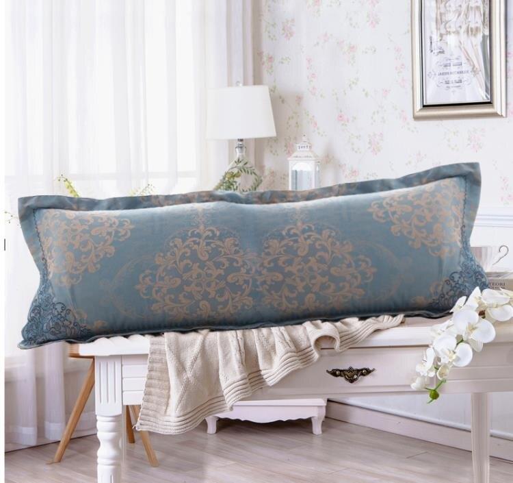 枕套 絲棉貢緞提花雙人長枕套1.2絲綿婚慶大紅1.5情侶長枕頭套1.8米