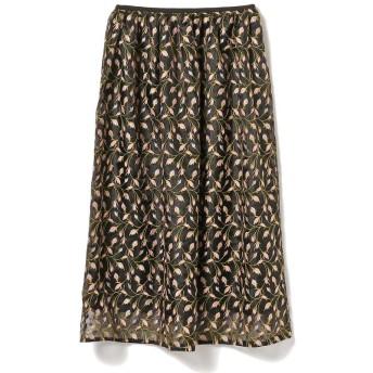 ビームス ウィメン Demi Luxe BEAMS / 刺繍 オーガンジー スカート レディース BLACK 36 【BEAMS WOMEN】