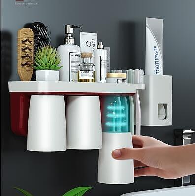 牙刷架置物架家用刷牙杯架子掛牆式漱口杯套裝壁掛式牙膏架收納盒 青木鋪子