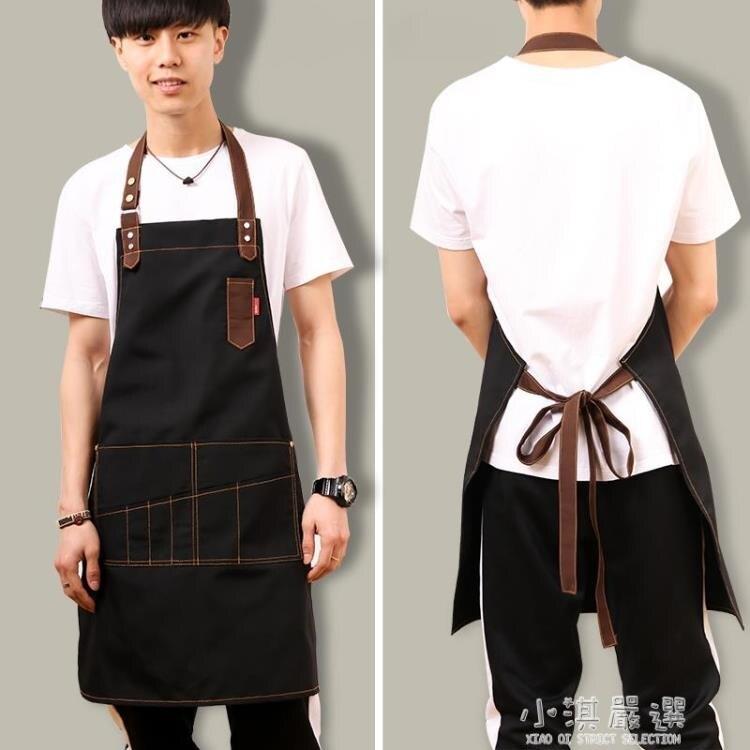 牛仔帆布圍裙韓版時尚咖啡店師畫畫奶茶店廚房男女工作服定制logo