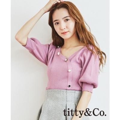 titty&Co.斜排扣羅紋上衣(2色)