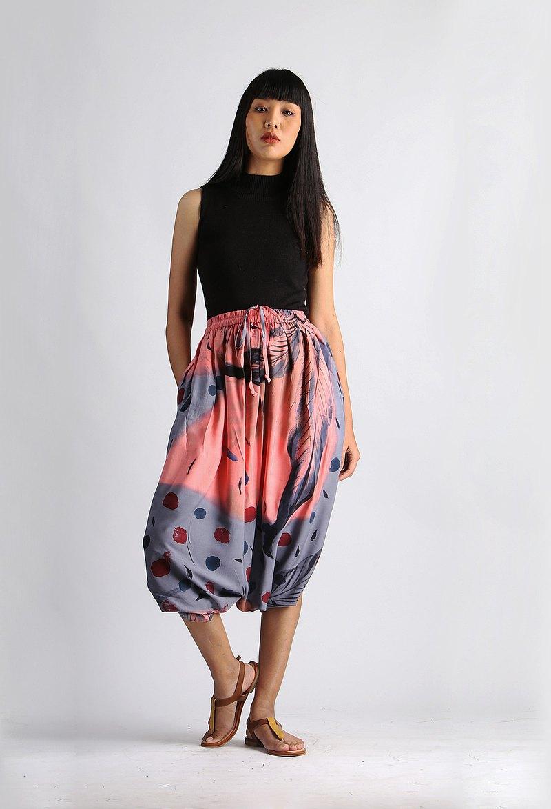 泰式棉質手繪褲子免費尺碼