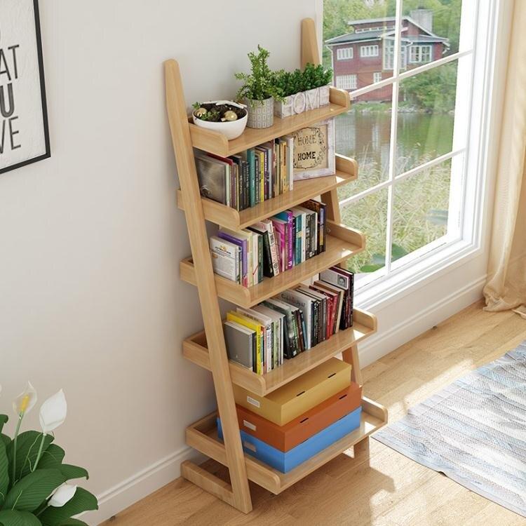 書架北歐全實木書架簡易衛生間陽臺置物架落地式客廳花架多層廚房架子