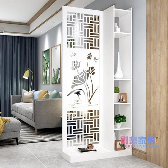 屏風進門屏風隔斷客廳簡約現代時尚小戶型置物架裝飾雕花鏤空墻玄關柜