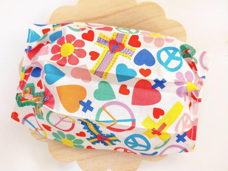 Love&Peace&hippie愛、和平、嬉皮口罩套布口罩