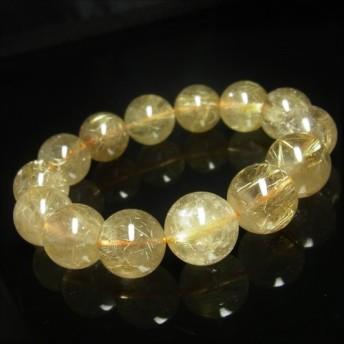 お試し価格 一点物 ゴールド タイチンルチル ブレスレット 金針水晶 天然石 数珠 16 17ミリ RK37 シラー 虹