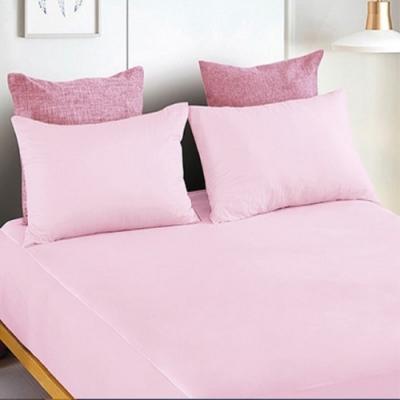 YCB舒膚柔綿床包枕套組-甜美粉-單人