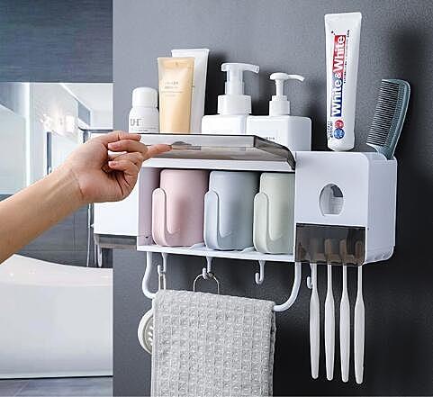 牙刷架置物架吸壁式衛生間刷牙杯牙具架子漱口杯套裝壁掛式收納架 青木鋪子
