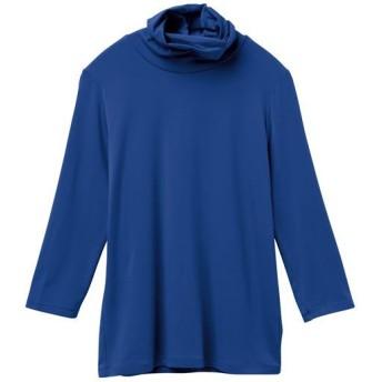 41%OFF【レディース】 テンセルオフタートル7分袖Tシャツ(日本製)(S-4L) - セシール ■カラー:ロイヤルブルー ■サイズ:S