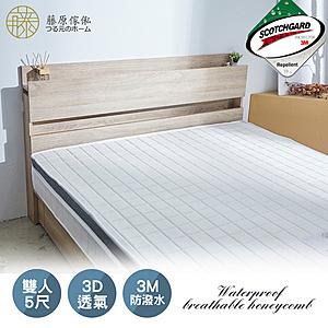 【藤原傢俬】3M防潑水3D透氣三線獨立筒床墊5尺(雙人)5*6.2