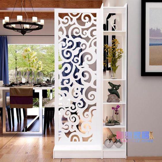 屏風雕花玄關柜鏤空簡約現代隔斷柜客廳白色折屏雙面門廳