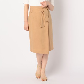 NOLLEY'S(ノーリーズ)/ウエストリボン麻混合繊スカート