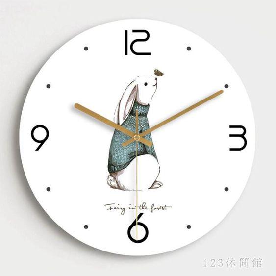 掛鐘現代簡約萌物鐘錶客廳創意北歐靜音個性臥室裝飾石英時鐘LB17423