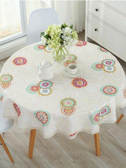 北歐大圓桌桌布墊防水防燙防油免洗小圓形餐桌布藝棉麻