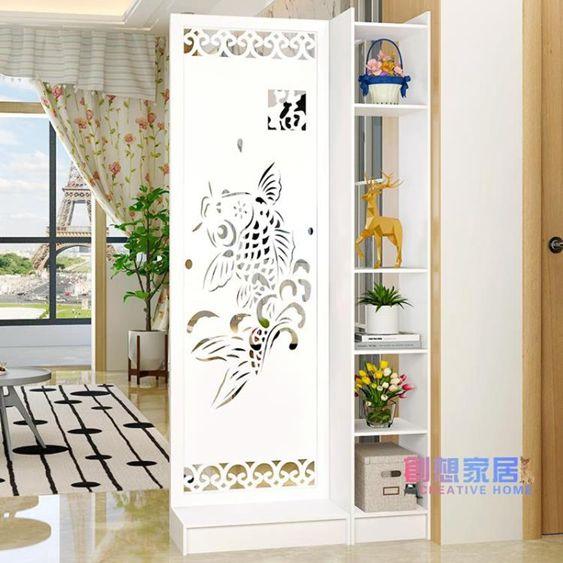 屏風客廳玄關柜簡約現代歐式時尚移動門廳裝飾柜鏤空雕花櫥窗