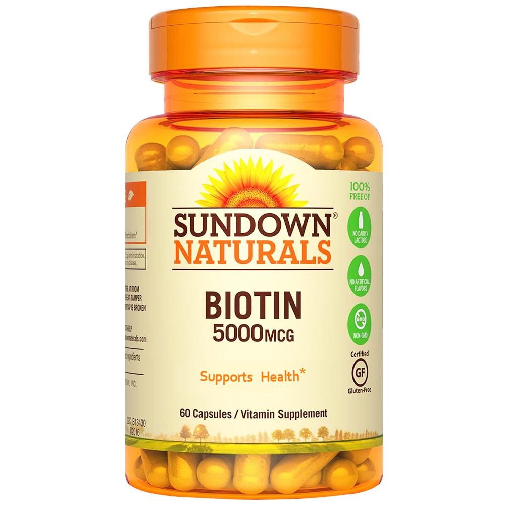 美國Sundown日落恩賜 生物素5000mcg+鈣膠囊(60粒x2瓶)組