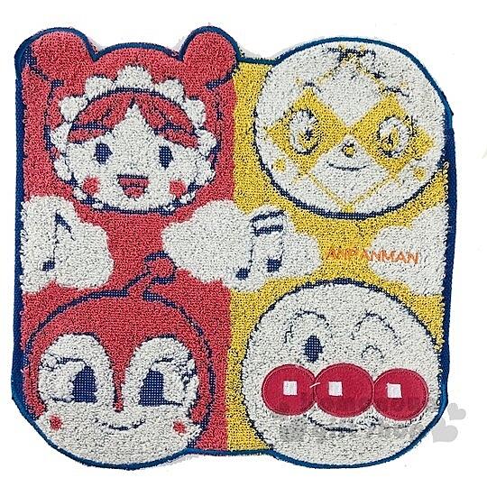 〔小禮堂〕麵包超人 造型純棉無捻紗小方巾《紅黃.角色大臉》25x25cm.手帕 4992272-70445