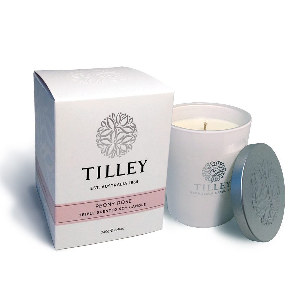 Tilley百年特莉 牡丹玫瑰香氛大豆植物蠟燭 240g(附防塵蓋)