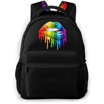 虹の唇 学校/スポーツバックパック、カジュアルなユニセックススタイルの大学の学校のバッグ/ラップトップバッグ男性用女性。
