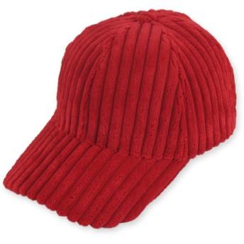 [Eduselforga] 帽子 リブ コーデュロイ キャップ メンズ レディース 男女兼用 サイズ調節 (レッド)