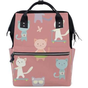 ZHONGJI マザーパッケージ 軽量 便利 多機能バックパック 大容量 収納袋 外出用 防水 厚手 さまざまな猫の背景