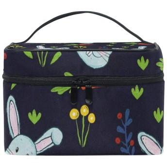 メイクポーチ ウサギ だいこん柄 化粧ポーチ 化粧箱 バニティポーチ コスメポーチ 化粧品 収納 雑貨 小物入れ 女性 超軽量 機能的 大容量