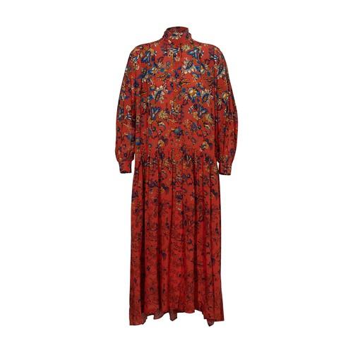 Long floral print silk dress