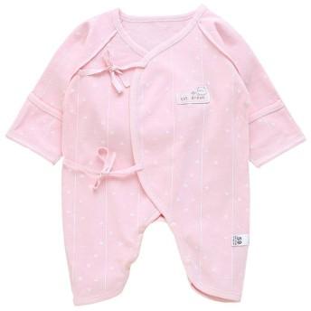 ALLAIBB ベビー服 ロンパース 甚平 カバーオール 長袖 女の子 男の子 新生児 59 パジャマ 出産祝い size 59 (ピンクのハート)