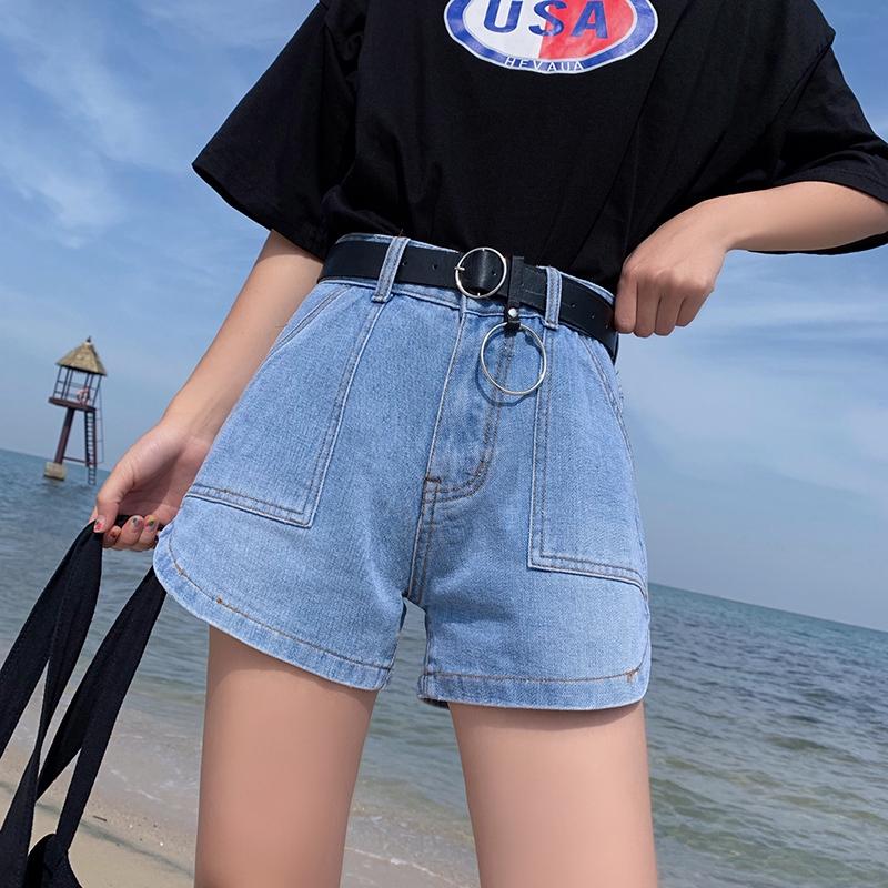 【HOT 本舖】學院風 牛仔短褲 休閒短褲 高腰牛仔褲 女生 夏季 闊腿褲 a字形 熱褲 時尚百搭 學院風 寬鬆顯瘦