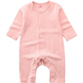 Milkiwai ベビー長袖ロンパース パジャマ カバーオール 前開き ルームウェア 女の子 男の子 春秋 size 60 (ピンク)