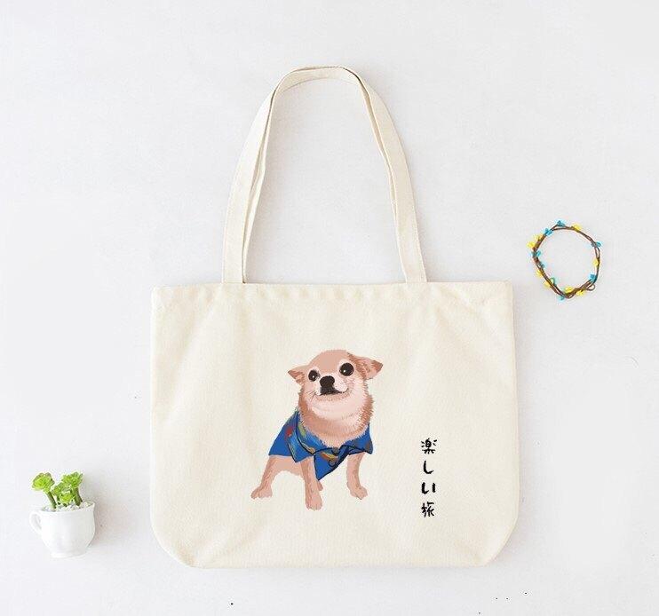 【鸚鵡笑笑】 環保購物帆布袋 .提袋 帆布袋 購物袋 野餐包  環保袋- 吉娃娃-