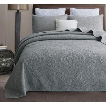 綿のベッドカバーダブルキルトキルトリバーシブルのエレガントなファッション花カントリースタイルベッドカバーファッション四季使用高級高品質ベッドカバー,GreyB-240X260cm