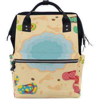 おむつバッグスリッパフットプリントおむつ バッグ バックパック ママバッグ カジュアル 軽量 大容量 トラベル マミー用