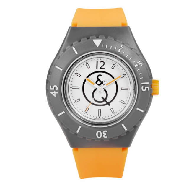 Q&Q SmileSolar 004太陽能潛水錶-螢光橘/43mm