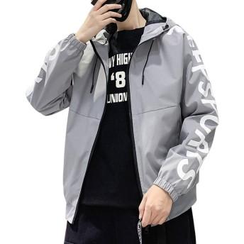 MissX メンズ ジャケット コート フード付き 軽量 防風 スポーツ おしゃれ カジュアル ブルゾン アウトドア 秋 冬 春 蓝L
